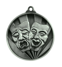 Load image into Gallery viewer, 1076-47S Silver Sunrise Drama Medal Great Value! Featuring Drama Masks 50mm Diameter, 25 x 38mm engraving plate on the back, Ribbon included. Gold Coast Trophies Burleigh