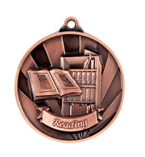 Load image into Gallery viewer, 1076-49BR Bronze Sunrise Reading Medal Great Value! Featuring a Book case & Open Book 50mm Diameter, 25 x 38mm engraving plate on the back, Ribbon included. Gold Coast Trophies Burleigh Gold Coast