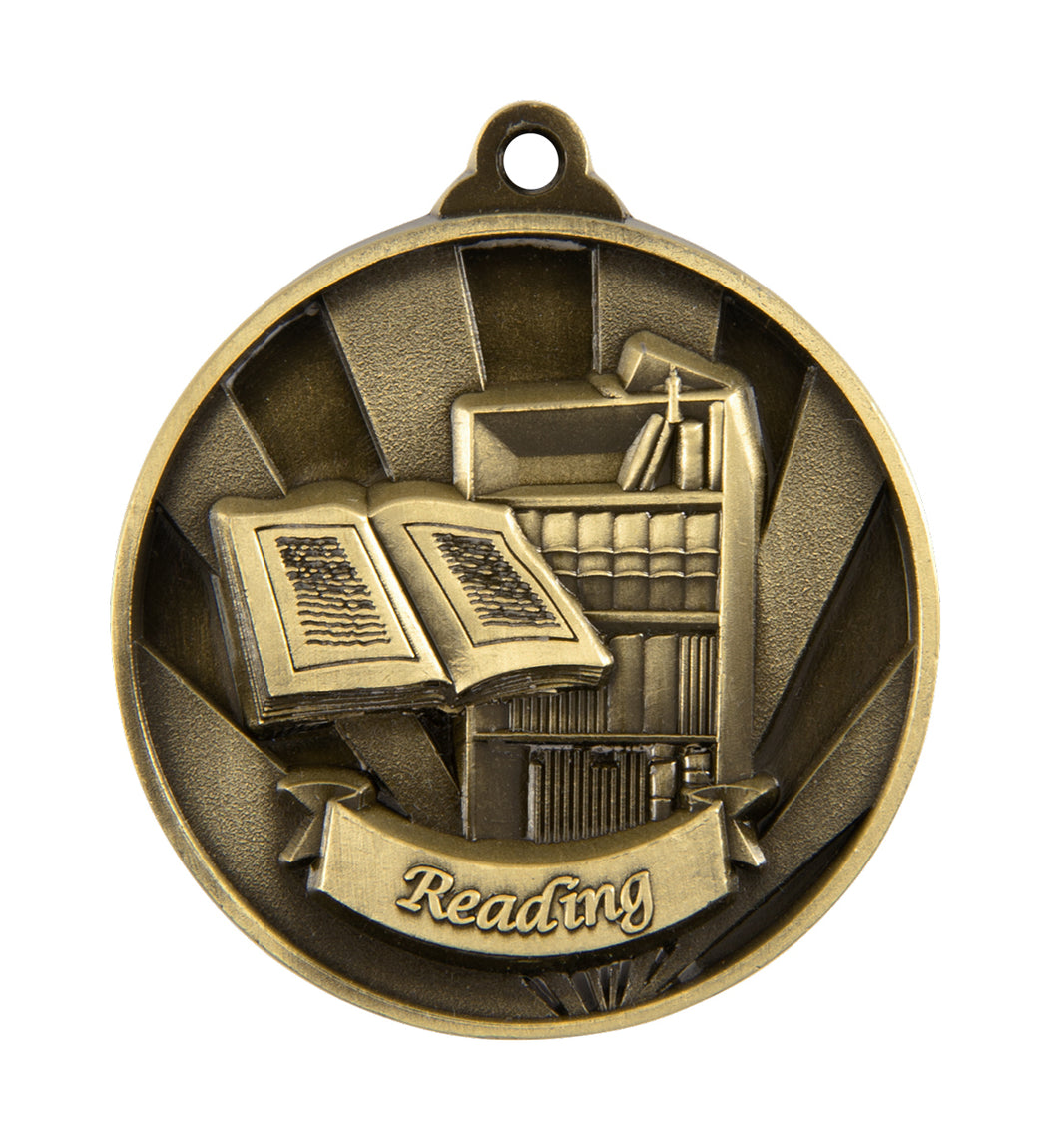 1076-49G Gold Sunrise Reading Medal Great Value! Featuring a Book case & Open Book  50mm Diameter, 25 x 38mm engraving plate on the back, Ribbon included. Gold Coast Trophies Burleigh Gold Coast
