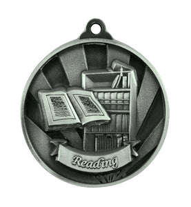 1076-49S Silver Sunrise Reading Medal Great Value! Featuring a Book case & Open Book 50mm Diameter, 25 x 38mm engraving plate on the back, Ribbon included. Gold Coast Trophies Burleigh Gold Coast