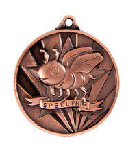 Load image into Gallery viewer, 1076-50BR Bronze Sunrise Spelling Medal Great Value! Featuring a Bee in a Star 50mm Diameter, 25 x 38mm engraving plate on the back, Ribbon included Gold Coast Trophies Burleigh Heads Gold Coast