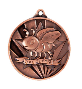 1076-50BR Bronze Sunrise Spelling Medal Great Value! Featuring a Bee in a Star 50mm Diameter, 25 x 38mm engraving plate on the back, Ribbon included Gold Coast Trophies Burleigh Heads Gold Coast