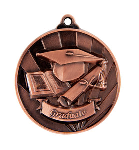 1076-52BR Bronze Sunrise Graduate Medal Great Value! Featuring a Cap, Scroll & Open Book 50mm Diameter, 25 x 38mm engraving plate on the back, Ribbon included Gold Coast Trophies Burleigh Heads