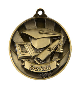 1076-52G Gold Sunrise Graduate Medal Great Value! Featuring a Cap, Scroll & Open Book  50mm Diameter, 25 x 38mm engraving plate on the back, Ribbon included Gold Coast Trophies Burleigh Heads