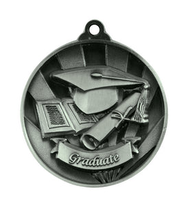 1076-52S Silver Sunrise Graduate Medal Great Value! Featuring a Cap, Scroll & Open Book 50mm Diameter, 25 x 38mm engraving plate on the back, Ribbon included Gold Coast Trophies Burleigh Heads