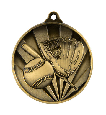 1076-5G Sunrise Baseball Medal - Great Value! Featuring a Bat, Glove & Ball  50mm Diameter, Ribbon & a 25 x 38mm Engraving plate of the back included