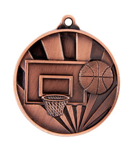 Load image into Gallery viewer, 1076-7BR Sunrise Basketball Medal - Great Value! Featuring a Backboard, Hoop & Basketball 50mm Diameter, 25 x 38mm Ribbon & Engraving plate of the back included, Burleigh Gold Coast