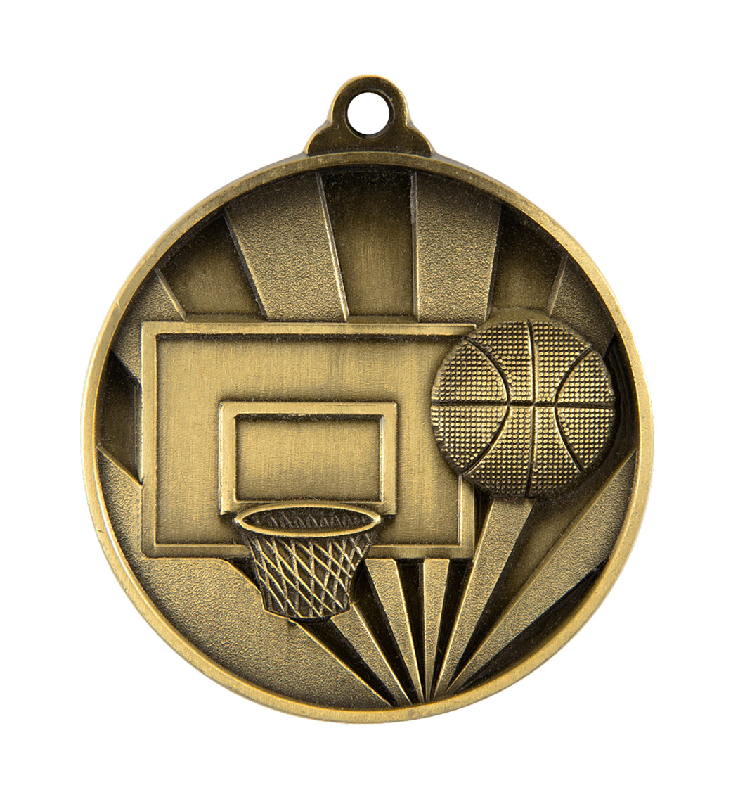 1076-7G Sunrise Basketball Medal - Great Value! Featuring a Backboard, Hoop & Basketball  50mm Diameter, 25 x 38mm Ribbon & Engraving plate of the back included, Burleigh Gold Coast