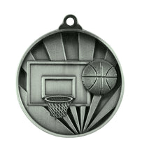 Load image into Gallery viewer, 1076-7S Sunrise Basketball Medal - Great Value! Featuring a Backboard, Hoop & Basketball 50mm Diameter, 25 x 38mm Ribbon & Engraving plate of the back included, Burleigh Gold Coast
