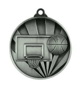 1076-7S Sunrise Basketball Medal - Great Value! Featuring a Backboard, Hoop & Basketball 50mm Diameter, 25 x 38mm Ribbon & Engraving plate of the back included, Burleigh Gold Coast