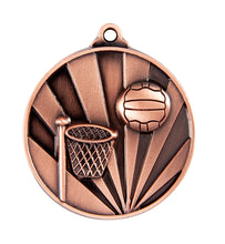 Load image into Gallery viewer, 1076-8BR Sunrise Netball Medal - Great Value! Featuring a Hoop & Netball 50mm Diameter, Ribbon & 25 x 38mm Engraving plate of the back included, Gold Coast Trophies Burleigh