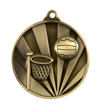 Load image into Gallery viewer, 1076-8G Sunrise Netball Medal - Great Value! Featuring a Hoop & Netball  50mm Diameter, Ribbon & 25 x 38mm Engraving plate of the back included, Gold Coast Trophies Burleigh