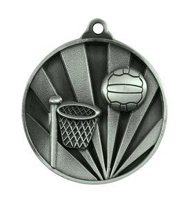 1076-8S Sunrise Netball Medal - Great Value! Featuring a Hoop & Netball 50mm Diameter, Ribbon & 25 x 38mm Engraving plate of the back included, Gold Coast Trophies Burleigh