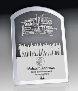 1256-1ARCH Silver mirrored edge with clear glass centre for engraving with Chrome Stand.  3 Sizes:  160mm / 170mm / 185mm  Gold Coast Trophies Burleigh Heads