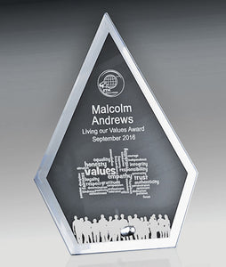 1256-1ARROW Silver mirrored edge with clear glass centre for Engraving & Chrome stand.  3 Sizes:  160mm / 175mm / 190mm Gold Coast Trophies Burleigh Heads