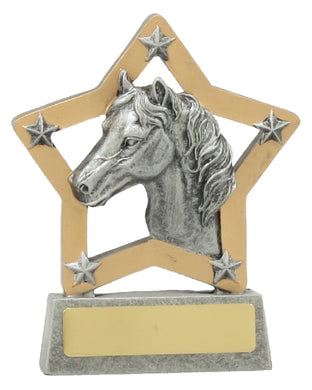 12935 Horse Mini Star Award Features Horse Head & Stars  Silver & Gold Resin  130mm in height , Engraving included, Gold Coast Trophies Burleigh