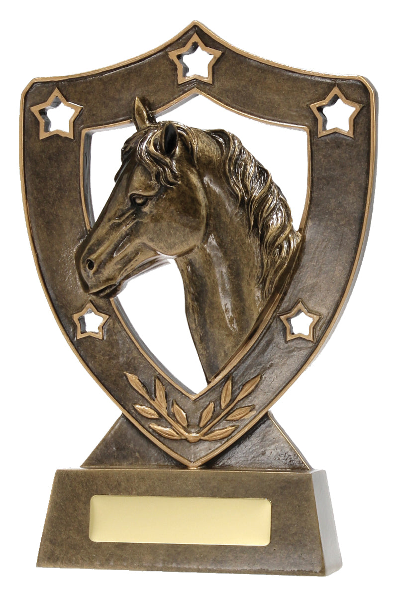 13535 Classic wreath and shield inspired design with Horse Trophy Gold Shield Gold Resin  3 Sizes:  135mm / 155mm / 210mm available, Engraving included, Gold Coast Trophies West Burleigh