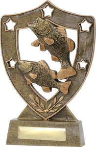 13703 Gold Resin Fishing Shield Trophy. Pickup locally at Gold Coast Trophies near Robina QLD or ship Australia wide.
