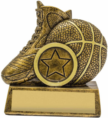 15234 Mini Icon Basketball Trophy, with Ball & Shoe Gold Resin  85mm in height, Engraving & Club logo included, Gold Coast Trophies Burleigh