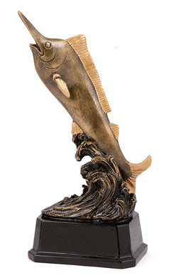 16312 Marlin Fishing Trophy antique gold fish with black base. Pickup locally at Gold Coast Trophies near Robina QLD or ship Australia wide.