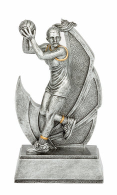 16753 Taza Action Netball Trophy Silver Resin  3 Sizes:  150mm / 180mm / 210mm available, Engraving included, Gold Coast Trophies Burleigh