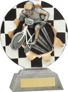 22108 BMX Bike & Rider Explode Trophy with Chequered Flag background Silver & Gold Resin with Black & White  175mm in height, Engraving included
