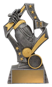 29709C Flag Theme Golf Trophy with Golf Bag, Ball & Clubs Silver Resin with Gold Trim  3 Sizes:  135mm / 155mm / 175mm available, Engraving & Club logo, Gold Coast Trophies West Burleigh