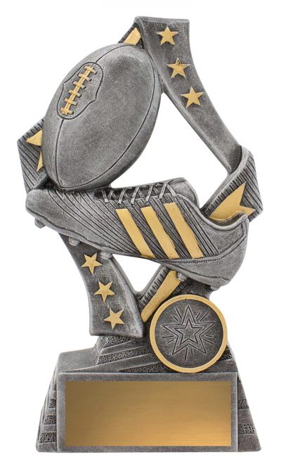 29731C Flag Theme Aussie Rules/AFL Trophy with Boot & Ball Silver Resin with Gold Trim, Engraving & Logo included 175mm in height.  Gold Coast Trophies Burleigh