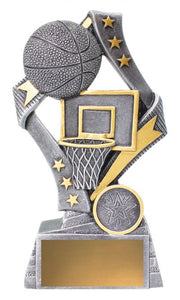 29734C Flag Theme Basketball Trophy with Basketball Hoop & Ball Silver Resin with Gold Trim  3 Sizes:  135mm / 155mm / 175mm available, Engraving & Club logo included