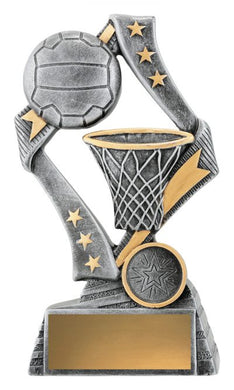 29737C Flag Theme Netball Trophy with Hoop & Ball Silver Resin with Gold Trim  3 Sizes:  135mm / 155mm / 175mm available, Engraving & Club logo included, Gold Coast Trophies Burleigh Heads