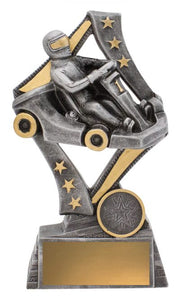 29765C Flag Theme Go Kart Trophy with Go Kart & Driver Silver Resin with Gold Trim  3 Sizes:  135mm / 155mm / 175mm available, Engraving & Club logo included, Gold Coast Trophies near Robina