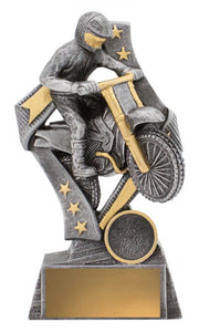 29768C Dynamic Motocross Trophy, featuring Dirt Bike & Rider Silver Resin with Gold Trim  3 Sizes:  135mm / 155mm / 175mm available, Engraving & Club logo included, Gold Coast Trophies Burleigh Heads