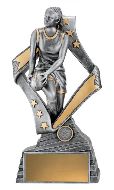 Dynamic AFL female player in action framed by a stylish silver star, Engraving & club logo included 6 sizes available