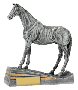 299355 Silver Horse Standing Silver Resin with Gold Trim  185mm in height, Engraving included, Gold Coast Trophies Burleigh Heads