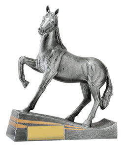 29936 Silver Horse Posing with Head Up Silver Resin with Gold Trim  235mm in height, Engraving included, Gold Coast Trophies West Burleigh