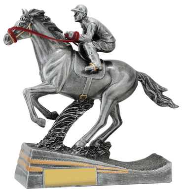 29937 Silver Horse Racing Trophy with Jockey Silver Resin with Gold Trim  180mm in height, Gold Coast Trophies, Burleigh
