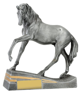 29938 Silver Horse Posing with Head Down Silver Resin with Gold Trim  210mm in height, Engraving included, Gold Coast Trophies Burleigh Heads