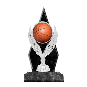 2AT200709 Timber Basketball Award with Silver Wreath & Basketball Feature Black/Grey Marble Effect Timber 3 Sizes: 200mm / 230mm / 260mm available, Engraving included