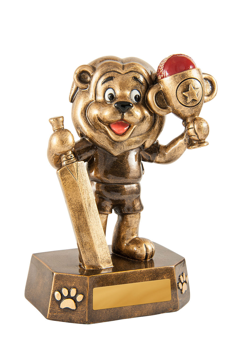 318-1 Cricket Lion Trophy, Holding Bat Gold Cup & Red Ball Gold Resin with red Cricket Ball  125mm  Engraving & Club Logo included - delivery or collect from Gold Coast Trophies, near Broadbeach Qld