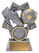 Load image into Gallery viewer, 32238 Astro Soccer-Football Trophy, silver & gold - with logo and engraving - collect in store at Gold Coast Trophies or delivery throughout Australia