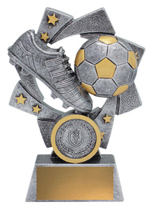 32238 Astro Soccer-Football Trophy, silver & gold - with logo and engraving - collect in store at Gold Coast Trophies or delivery throughout Australia