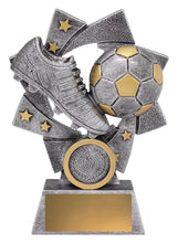 Load image into Gallery viewer, Astro Soccer-Football Trophy, silver & gold - with logo and engraving - collect in store at Gold Coast Trophies or delivery throughout Australia