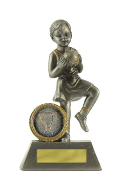 601S-8 Little Champs Netball Trophy - Perfect for the Kids & GREAT PRICE! Available in Silver or Gold  125mm in height, Engraving & Club logo included, Gold Coast Trophies Burleigh Heads