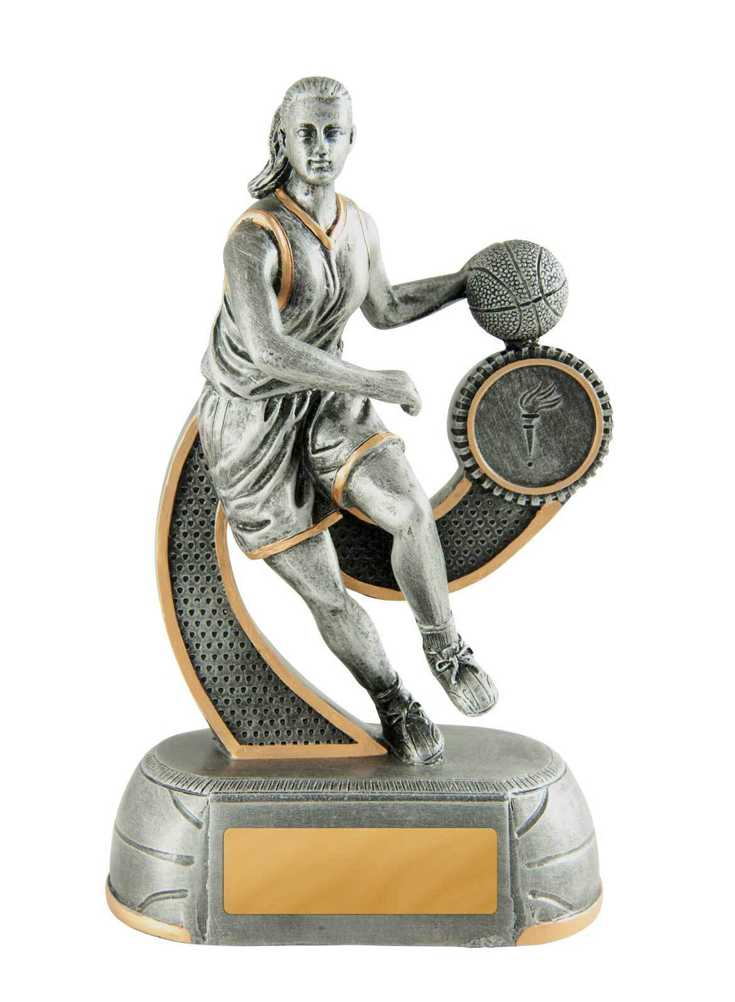 658-7FC Megastar Basketball Series of Trophies, in Silver Resin with Gold Trim - Female Silver & Gold Resin  4 Sizes:  125mm / 150mm / 175mm / 200mm available, Engraving & Club logo included