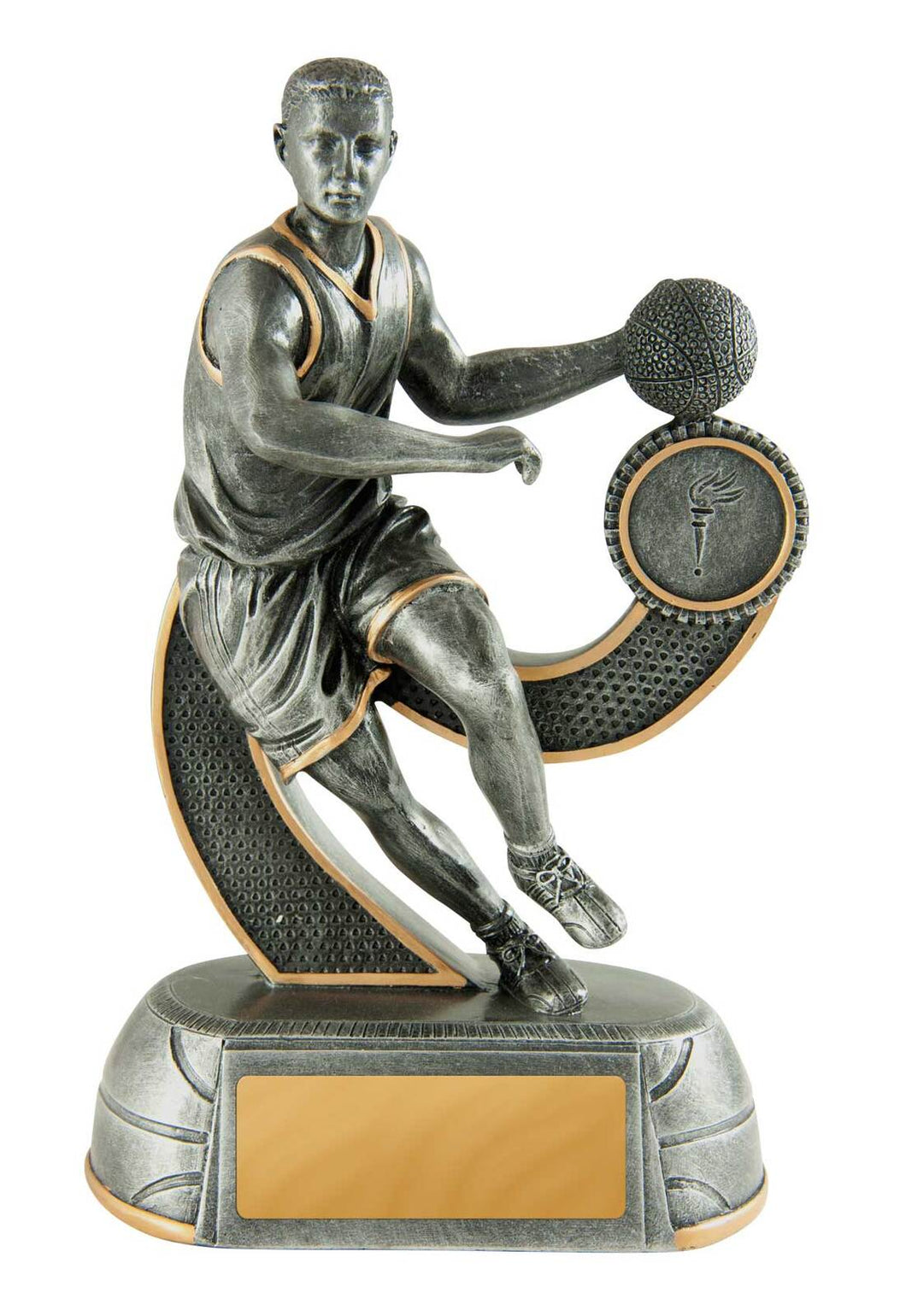 658-7MD Megastar Basketball Series of Trophies, in Silver Resin with Gold Trim - Male Silver & Gold Resin  4 Sizes:  125mm / 150mm / 175mm / 200mm available, Engraving & Club logo included
