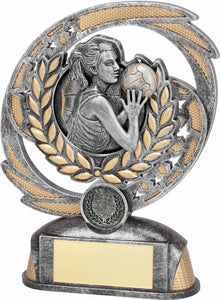 8A-8FIN8F Wreath Netball Trophy, with Gold Wreath & Netball Player in Centre Silver & Gold Resin  2 Sizes:  170mm / 190mm available, Engraving & Club logo included, Gold Coast Trophies Burleigh