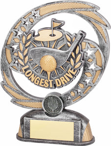 8B-8FIN10LD Longest Drive Golf Award, with Club, Flag & Ball on Tee Silver & Gold Resin & Plastic  2 Sizes:  170mm / 190mm available, Engraving & Club logo included, Gold Coast Trophies Burleigh Heads