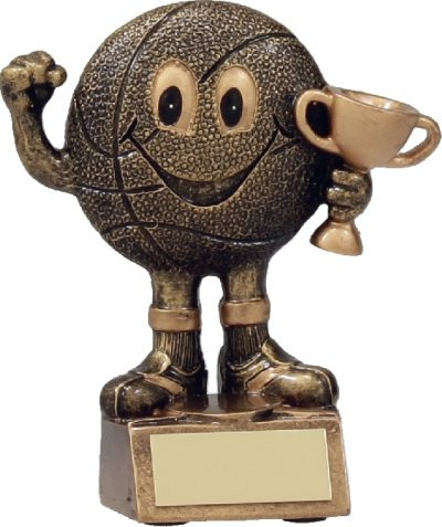 A1160A Smiley Basketball Character Trophy, Holding Gold Cup - Great for the Kids! Gold Resin  120mm in height, Engraving included