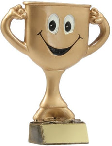A1212 Smiley Cup Character  Gold Resin 120mm in height, Engraving included.  Gold Coast Trophies Burleigh Heads