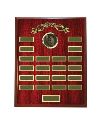 A14-3504 Rectangle 20 Year Timber Perpetual Shield/Plaque, suitable for Sports, Schools & Corporate Woodgrain Timber with Logo  375mm in height.  Gold Coast Trophies Burleigh Heads